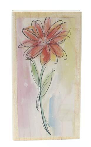 Hampton Art Watercolor Daisy Long Stem Botanical Flower Wooden Rubber ()