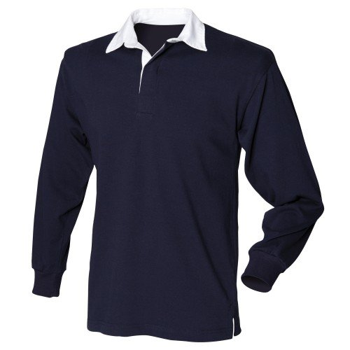 Front Row Mens Long Sleeve Sports Rugby Shirt - Large / Chest 40 - 42in - Navy