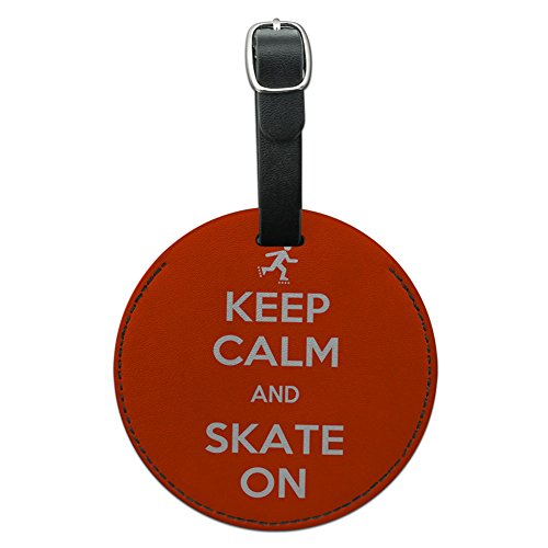 Keep Calm And Skate On Inline Skating Round Leather Luggage ID Tag Suitcase ()