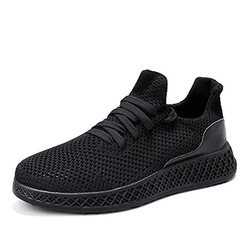 Releson Men's Breathable Sneakers Non-Slip Wear-Resistant Asketball Running Solid Color Casual Shoes Mesh Shoes (10 B (M) US, Black)