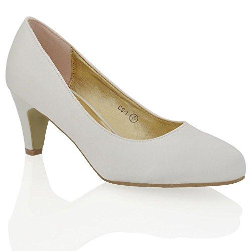 Essex Glam Womens Low Heel Ivory Satin Evening Slip On Pumps Court Shoes 6 B(M) US