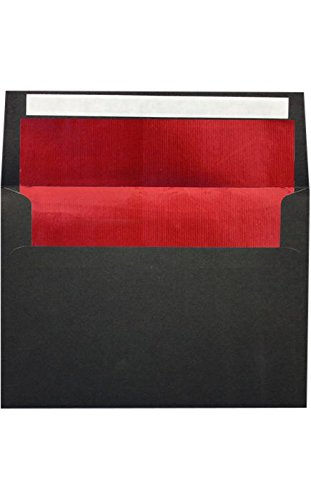 (A7 Foil Lined Invitation Lined Envelopes w/Peel & Press (5 1/4 x 7 1/4) - Black w/Red Foil Lining (50 Qty.) | Perfect for 5 x 7 Holiday Greeting Cards,)