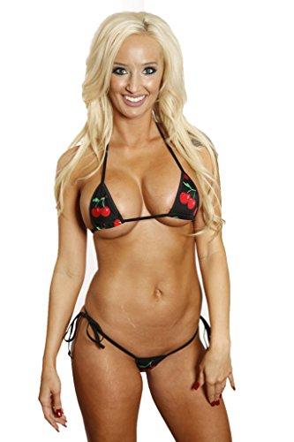Bitsy's Bikini Black Red Cherry Tie Side Thong Bikini Micro Extreme Swimwear