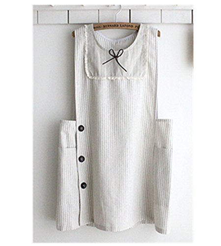 Cotton Linen Apron Wheat White Color Lace & Bow Decoration Aprons Japanese Style Girl Style Side Button Kitchen Cooking - Style Bib Childrens Apron