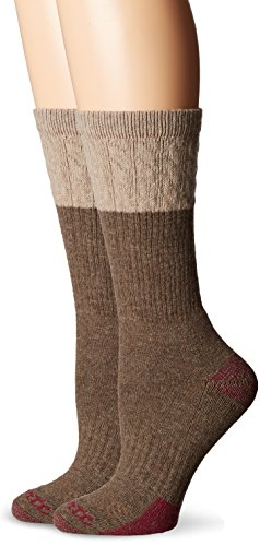 Carhartt Women's 2 Pack Merino Wool Blend Tectured Crew, Brown, 5.5-11.5 Shoe/9-11 Sock