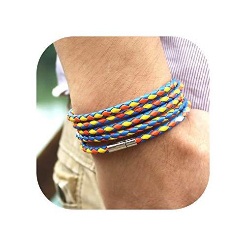 (Latest Popular 5 Laps Leather Bracelet for Men Charm Vintage Black Bracelet10 Color Choose,Slpg46)
