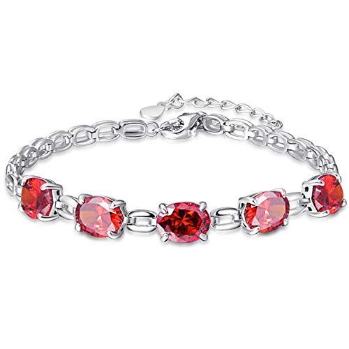 BONLAVIE Oval Cut 4-Prong Created Spessartine Garnet 925 Sterling Silver Square Chain Link Bracelet for Girl ()