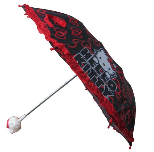 Sanrio Hello Kitty Girls Black and Red Collapsible Umbrella with 3D Handle, Bags Central