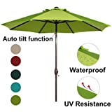 Abba Patio 9 Feet Patio Umbrella Market Outdoor Table Umbrella with Auto Tilt and Crank, Lime Green For Sale