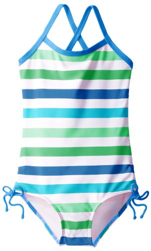 Kanu Surf Little Girls' Toddler Sassy One Piece Swimsuit, Blue/Green, -