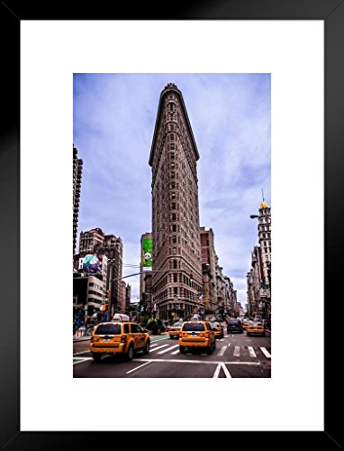 (Poster Foundry Taxi Cabs Near Flatiron Building New York City Photo Art Print Matted Framed Wall Art 20x26 inch)