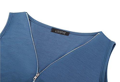 Blue con tuta Luxspire V pantaloni corta tute estate a cerniera cerniera con tutina causale donna scollo corti UwqUA4B