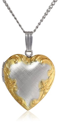 Sterling Silver Embossed Heart Two-Tone Floral Edge Locket Necklace, 18