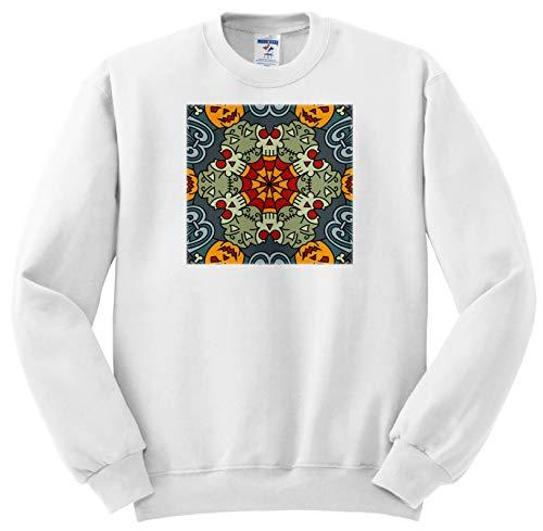 Alexis Design - Mandala Background - Halloween Mandala Background. Pumpkins, Skulls, Horror. Funny Gift - Sweatshirts - Adult Sweatshirt 4XL -
