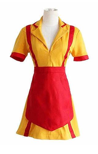 COSKING Max Costume for Women, Deluxe Halloween Caroline Cosplay Dress with Apron (Large)]()