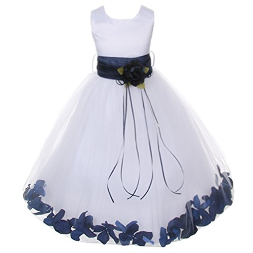 Little Girls White Sleeveless Satin Bodice Floating Flower Petals Girl Dress with Matching Organza Sash and Double Tulle Skirt - Navy Blue Set - Size 6