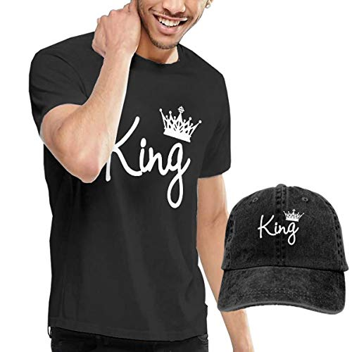 Gili-Boom Queen Crown Men's Short Sleeve Crewneck Cotton T-Shirt And Dad Hat Baseball Cap Polo Style For ()