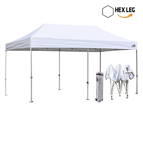 New Eurmax 10 by 20 feet Ez Pop up Canopy Instant Tent Wedding Shade Shelter Commercial grade Bonus Wheeled bag (White) - Frame Wedding Canopy