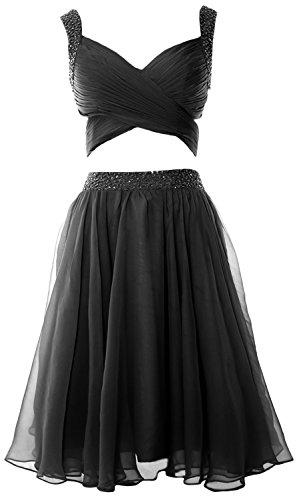 MACloth Women 2 Piece Prom Homecoming Dress Mini Chiffon Formal Evening Dress Negro