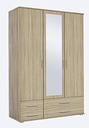 Kleiderschrank Braun Eiche Sonoma 3 Turen B 127 Cm H 188 Cm Schrank Wascheschrank Spiegelschrank Jugend Kinderzimmer Schlafzimmer
