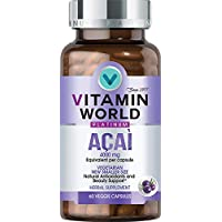 Vitamin World Platinum Acai 4000mg | Premium Antioxidant & Beauty Support Supplement feat. High-Potency Acai Extract & Red Orange Complex, 60 Capsules