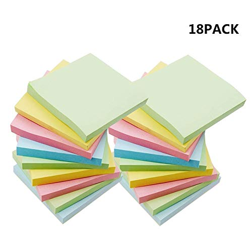 Sticky Notes, Umikk 18 Pads Self-Stick Notes, 100 Sheets/Pad,  3x3 Inch ,Including 4 Candy Colors, Easy To Post For Home, Office, Notebook