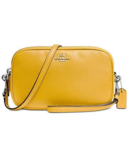 COACH Women's Pebbled Leather Crossbody Clutch Sv/Yellow Clutch by Coach