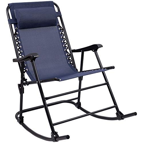 Furniwell Patio Rocking Zero Gravity Chair Outdoor Wide Recliner Portable Lounge Chair Folding with Headrest for Camping Fishing Beach Poolside(Blue)