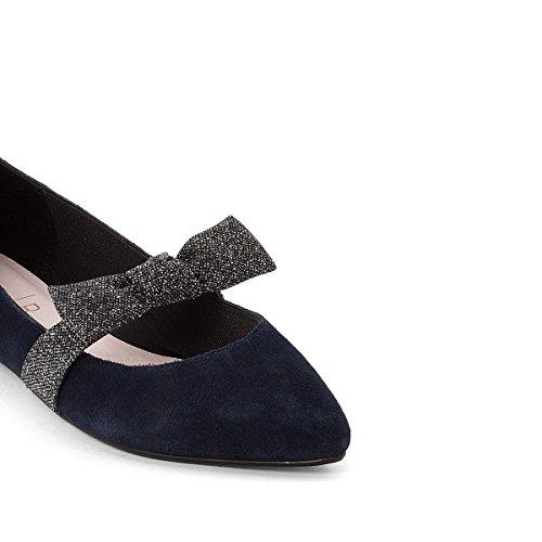 La Redoute Mademoiselle R Frau Lederballerinas mit Schleife Blau