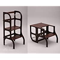 Convertible Helper tower - table/chair Step'n'Sit all-in-one, Montessori learning stool, kitchen step stool - dark BROWN color/antique BRASS clasps