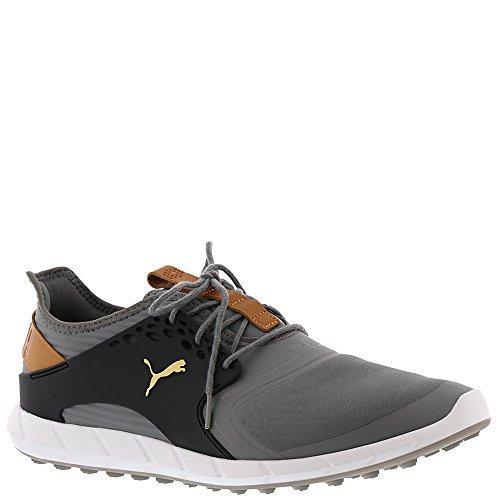 PUMA Golf Men's Ignite Pwrsport Golf Shoe, Quiet Shade/Team Gold/Black, 9 Medium US