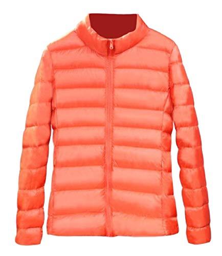 Pocket Outwear Orange Energy Weight up Sleeve Collar Light Stand Zip Long Womens Down wwHqYPOR