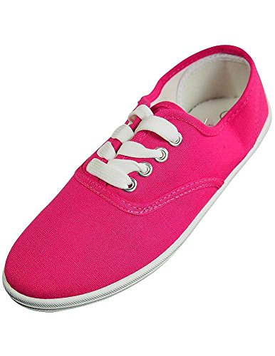 - Easy USA - Womens Canvas Lace Up Shoe with Padded Insole, Fuchsia 37309-9B(M)US