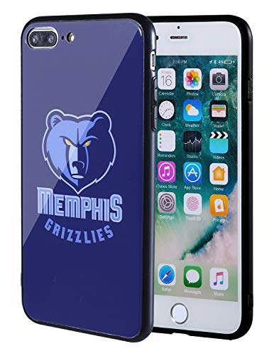 (The Mass iPhone 8 Plus case, iPhone 7 Plus case, NBA Team Logo on Tempered Glass Back Cover and Soft TPU Frame for iPhone 8 Plus/7 Plus (Memphis Grizzlies))