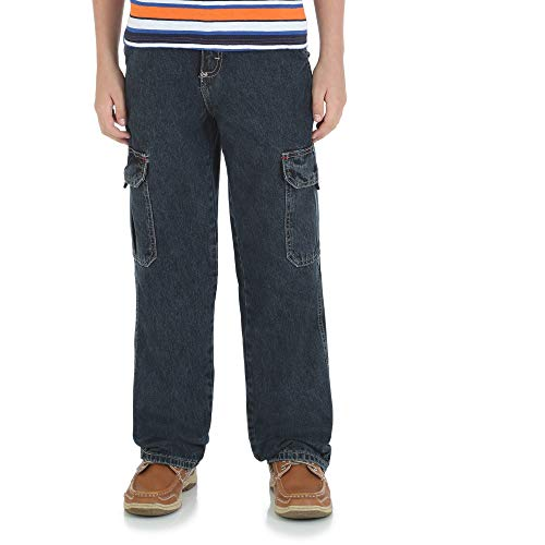- Wrangler Husky Boys Classic Cargo Jean Straight Legs Relaxed Fit , Nocturne , 14 Husky