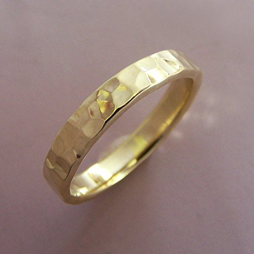 18k Yellow Gold Wedding Ring - Hand Hammered - Choose a Width from 2 to 8 mm
