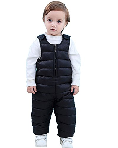 Kidsform Infant Overall Bib Pants Zip Sleeveless Down Coat Snowsuit Outfits Outwear Black - Boys Overall Toddler Bib