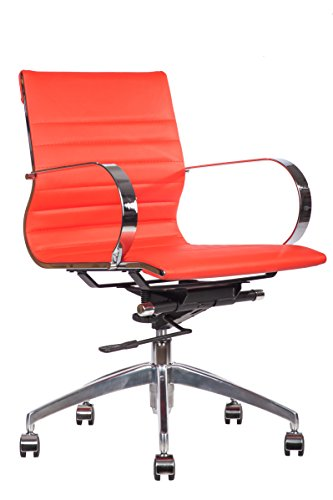 lazyBuddy Premium PU Leather Soft Pad Executive Management Office Replica Chair Swivel and Polished Aluminium Frame - Ribbed Mid Back Version (Red)