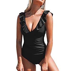 CUPSHE Women's V Neck One Piece Swimsuit Ruffled Lace Up Monokini