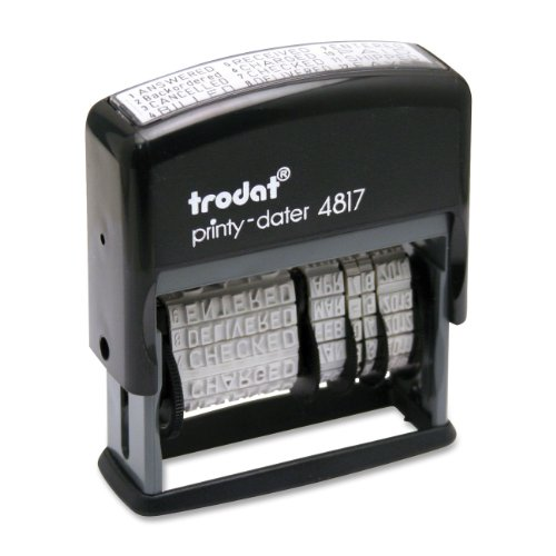 Trodat Economy 12-Message Stamp, Dater, Self-Inking, 3/8 x 2 Inches, Black (E4817)