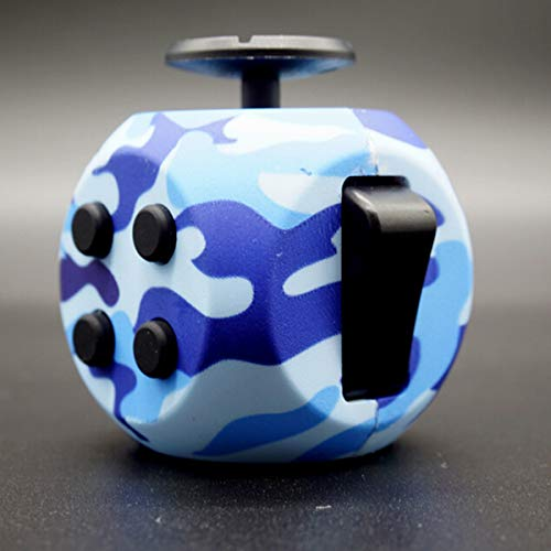 Fidget Dice 6 Sides Release Stress Anxiety and Relax Cube for Children and Adults - Blue Camouflage