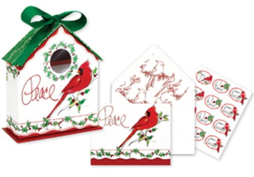 CR Gibson Birdhouse Christmas Boxed Cards, Cardinals, 10 Count