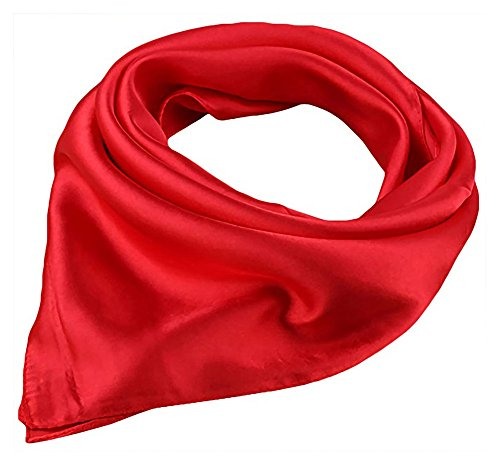 (Women Satin Square Scarf Wrap Silk Feel Solid Color Hair Scarf Accessory 23