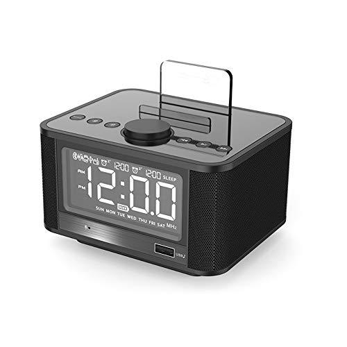 BESTSUGER Wireless Bluetooth Speaker, Alarm Clock Speaker, Subwoofer Enhanced FM Radio with Temperature Display TF/SD Card Slot for Home,Black