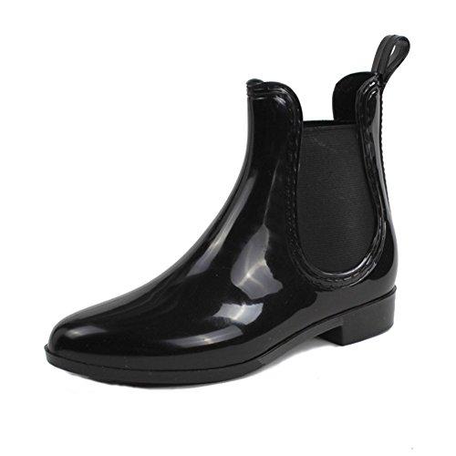 FANGDA Short Ankle Elasticized Rubber Rain Boots for Women Black toyQ5S