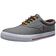 Polo Ralph Lauren Men's Vaughn Chambray Sneaker,Grey/Red,8 D US