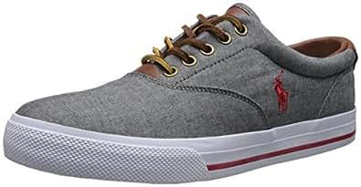 Polo Ralph Lauren Men's Vaughn Sneaker,Grey/Red,7 D US