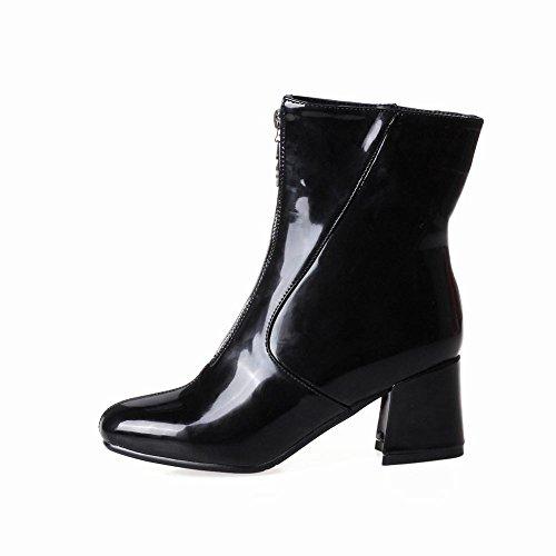 Charm Foot Mujeres Fashion Charol Grueso Botas Cortas De Tacón Medio Negro