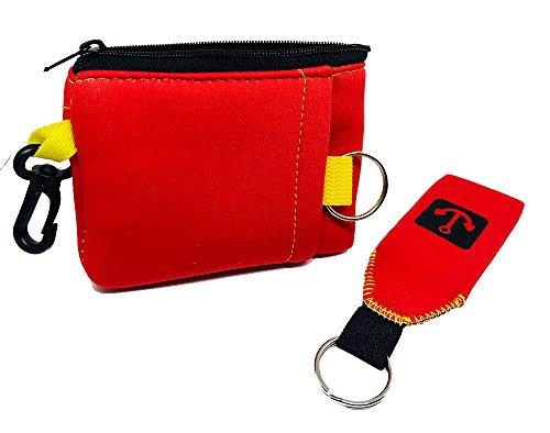 Floating Neoprene Wallet with Zipper & Hook & Floating Keychain (Red)