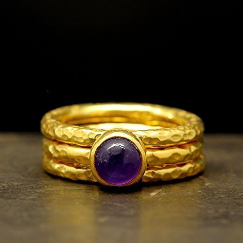 Natural Cabochon Amethyst Stackable Ring Set 925 Sterling Silver 24K Yellow Gold Vermeil Hammered Handcrafted Set of Three Gemstone Stacking Band Ring